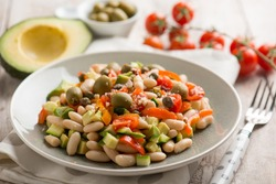 beans salad with avocado tomatoes olivesand capsicum