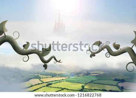 beanstalks in clouds in front of giant castle