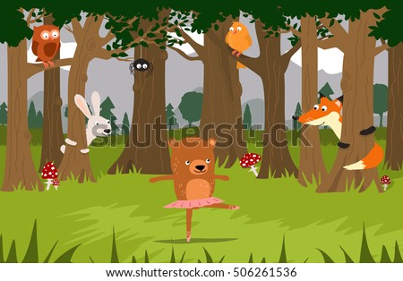 Bear ballet dancer and her friends: fox, bunny, birds, spider, watching her dance in the forest. Cute children illustration #506261536