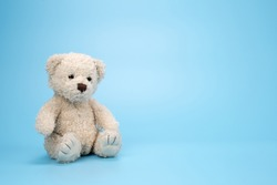 Bear Doll on blue sky background.
