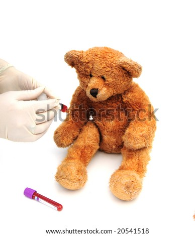 Bear giving a blood sample