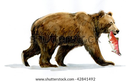 Bear Grizzly with fish