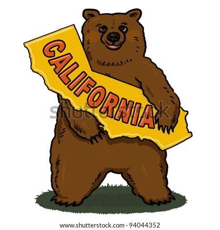 Bear holding A Map of California Illustration; Brown Bear Illustration