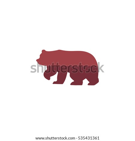Bear Icon Illustration. Flat simple color pictogram