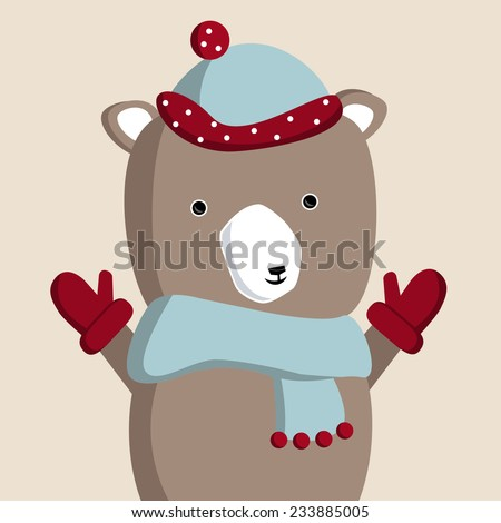 Bear in hat and scarf #233885005
