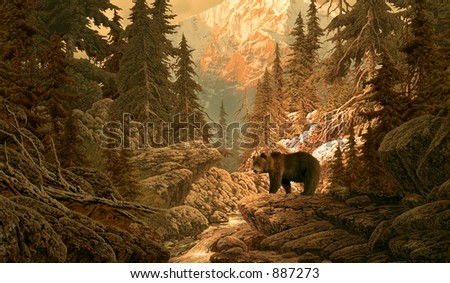 Bear in the Rocky Mountains / Image from an original 14x24 painting by Larry Jacobsen. / AF-064