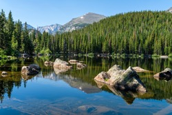 Bear Lake - A sunny summer morning view of a rocky section of Bear Lake, Rocky Mountain National Park, Colorado, USA.