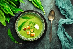 Bear leek soup or ramson soup with crouton, sour cream and turkey skewer on green background