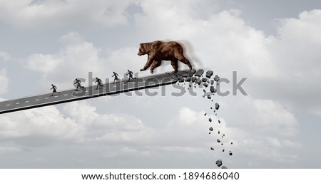 Bear market fear and economic panic concept trending downwards as a financial loss symbol and bearish stock market downward trend as investors running away from ruin with 3D render elements. Photo stock ©