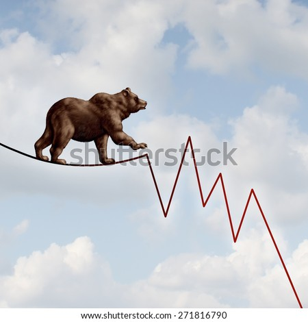 Bear market risk financial concept as a heavy bearish beast walking on a high tightrope shaped as a stock market loss diagram chart representing the investment danger ahead.