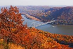 Bear mountain bridge over hudson river in new york