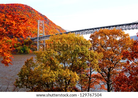 bear mountain bridge with autumn mountain view