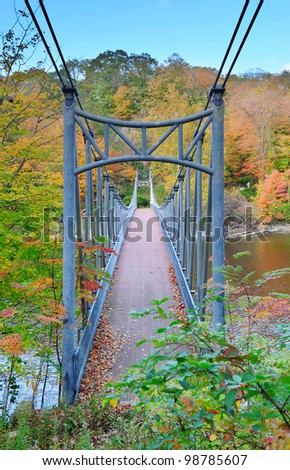 Bear Mountain with Hudson River and bridge in Autumn with colorful foliage.
