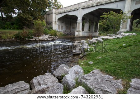 Bear River Recreation Area In Petoskey Michigan. The Bear River is the centerpiece of the Bear River Recreation Area in downtown Petoskey Michigan.
