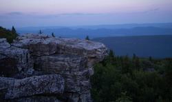 Bear Rock, Dolly Sods West Virginia. Blue hour scenic overlook.