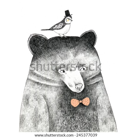 bear with a bird on his head - pencil drawing