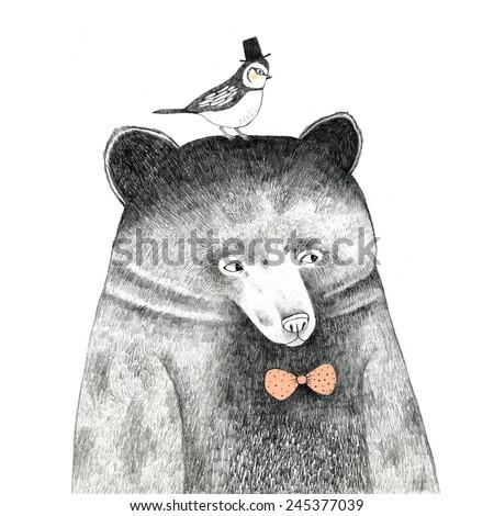 bear with a bird on his head  ...
