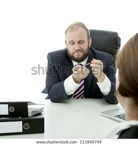 beard business man brunette woman at desk file nails ignore woman
