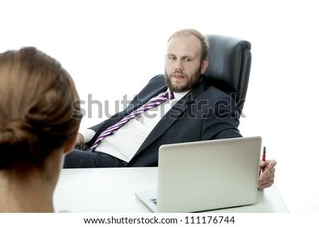 beard business man brunette woman at desk ignoring
