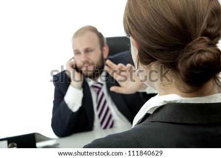 beard business man brunette woman at desk sign be quiet