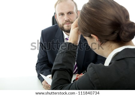 beard business man brunette woman at desk unwell of contract