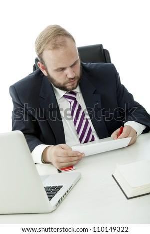 beard business man sign contract desk