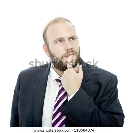 beard business man thinking and unsure
