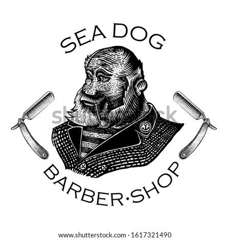 Beard man, captain with pipe between of two razor in engraving style. Vintage style for burbershop or t-shirt design