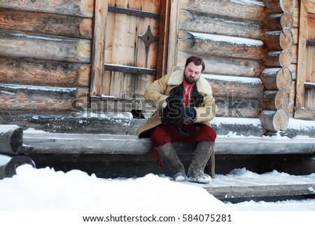 beard man in traditional winter ...