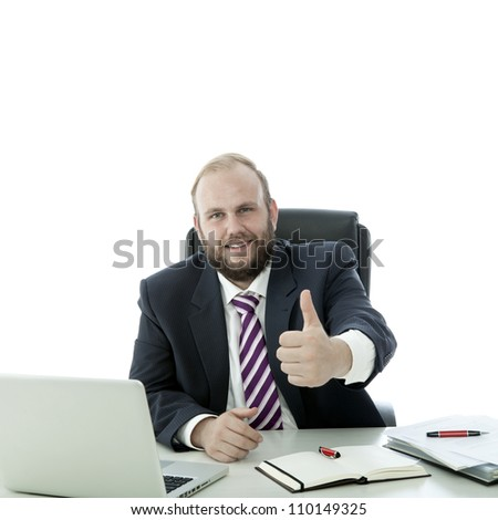 beard man thumb up at the desk