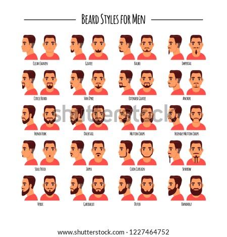 Beard styles for men icon set. illustration isolated on white background. Logo, label, emblem design elements. #1227464752