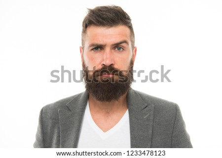 Bearded and confident. Hipster appearance. Beard fashion and barber concept. Man bearded hipster stylish beard and mustache isolated white. Barber tips maintain beard. Stylish beard and mustache care.