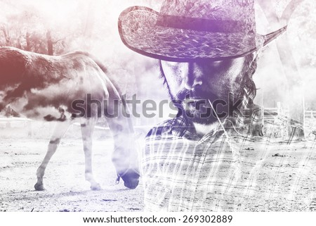 Bearded Cowboy Farmer wearing Straw Hat on Western American Horse Ranch, Double Exposure Image. #269302889