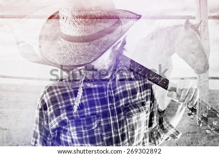Bearded Cowboy Farmer with Acoustic Blues Guitar and Straw Hat on Western American Horse Ranch, Double Exposure Image. #269302892