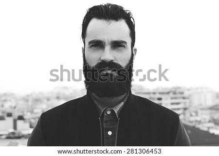 Bearded man black and white portrait Stock photo ©