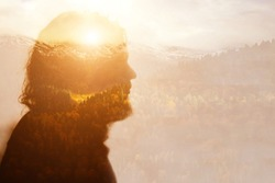 Bearded man climbing in hipster style on mountain background. Vacation, summer. Adventure travel. Summer tourism. Mindset reset. Double exposure.