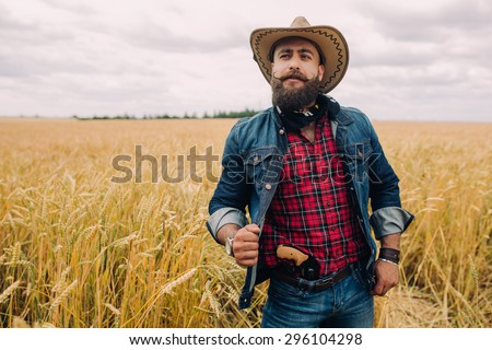 Bearded man. Cowboy