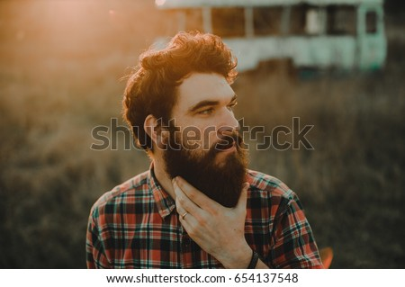 Bearded man.Man with beard outside.