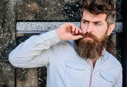Bearded man outdoor. Beard care and barbershop. Mature hipster with beard. brutal male with perfect style. male fashion and beauty. bearded man with lush hair. Time for new haircut.