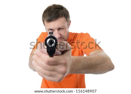 Bearded man with a gun isolated on white background