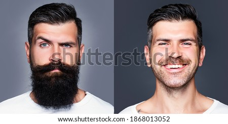 Bearded man with long beard and mustache or handsome hipster in barbershop. Shaved vs unshaven Barber hair salon. Before and after