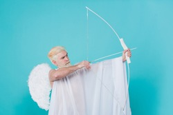 Bearded Valentines Day cupid. Arrows of love. Valentine day. Cherubic angel throws arrow with bow.