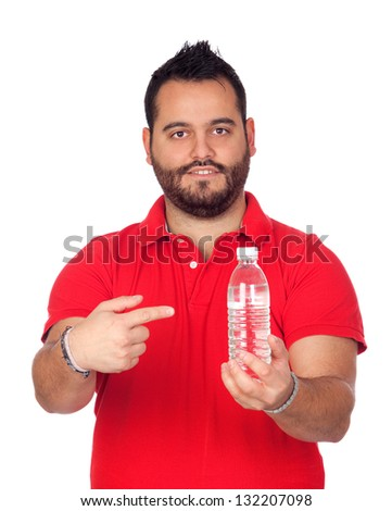 Bearded young men with a water bottle isolated on white background