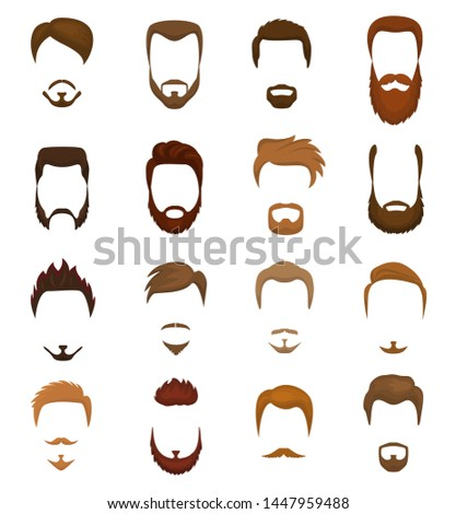Beards portraite of bearded man with male haircut in barbershop and barbed mustache on hipsters face illustration set of barber hairstyle isolated on white background