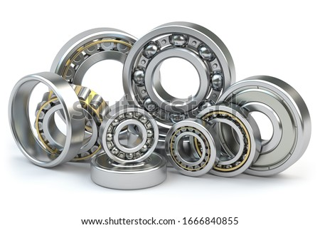 Bearings of different types isolated on white background. 3d illustration Сток-фото ©