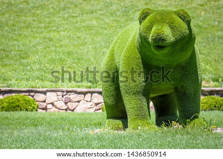 bears created from bushes at green animals. Topiary gardens #1436850914