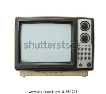 Beat up grungy old TV set isolated on white.