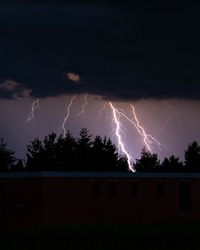 Beatiful blue lighning in the evening storm