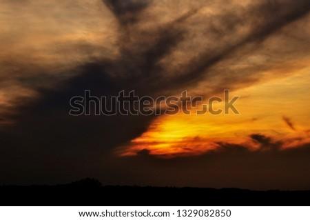 Beatiful cloudy golden sunset landscape wallpaper background #1329082850