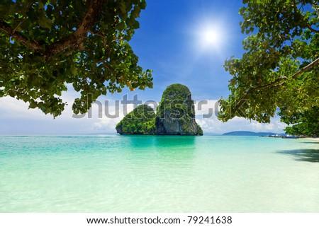 Beatiful green rocks at Railay beach, Krabi, Thailand